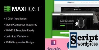 MaxHost - Web Hosting, WHMCS Tema WordPress